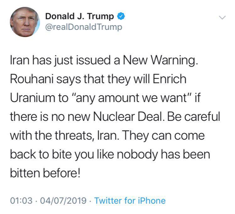 ادامه تهدیدهای توییتری ترامپ علیه ایران (تیر ماه 98)