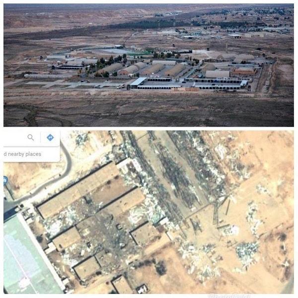 تصویر هوایی از پایگاه عین الاسد قبل و بعد از انتقام