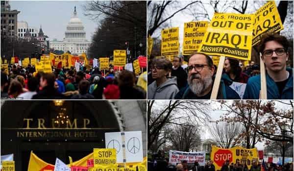 تجمع معترضان ضد جنگ با ایران مقابل کاخ سفید