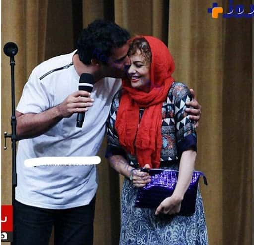 بوسه جنجالی منوچهر هادی بر صورت یکتا ناصر + عکس
